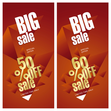 sell off: Big sale banner 50 and 60 percent off gold red background Illustration