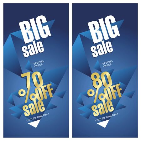 70 80: Big sale banner 70 and 80 percent off gold blue background