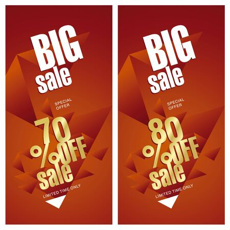 70 80: Big sale banner 70 and 80 percent off gold red background