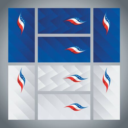 streamers: US flag ribbon logo abstract card cover background