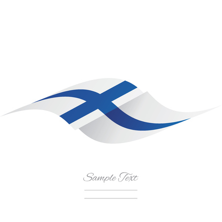 finnish: Abstract Finnish flag ribbon logo white background