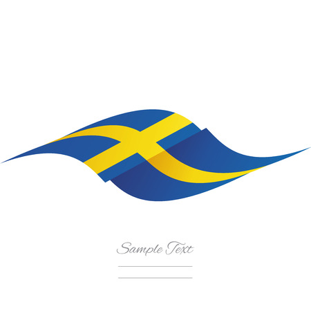sweden flag: Abstract Sweden flag ribbon logo white background