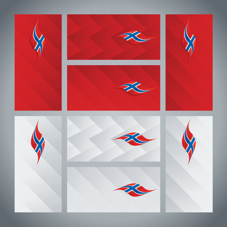 norway flag: Norway flag ribbon logo abstract card cover background