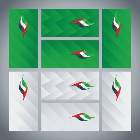 united arab emirate: UAE flag ribbon logo abstract card cover background