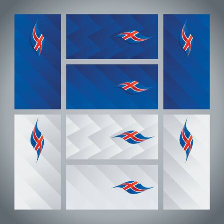 iceland flag: Iceland flag ribbon logo abstract card cover background Illustration