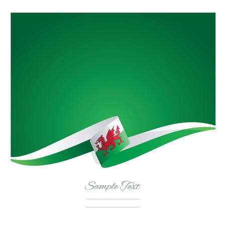 wales: New abstract Wales flag ribbon Illustration