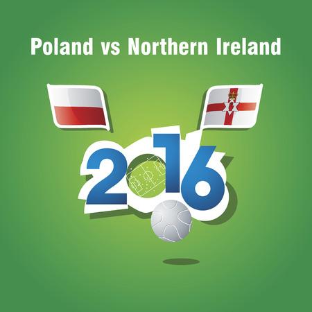 northern ireland: Euro 2016 Poland vs Northern Ireland vector background Illustration