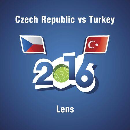 the czech republic: Euro 2016 Czech Republic vs Turkey vector blue background
