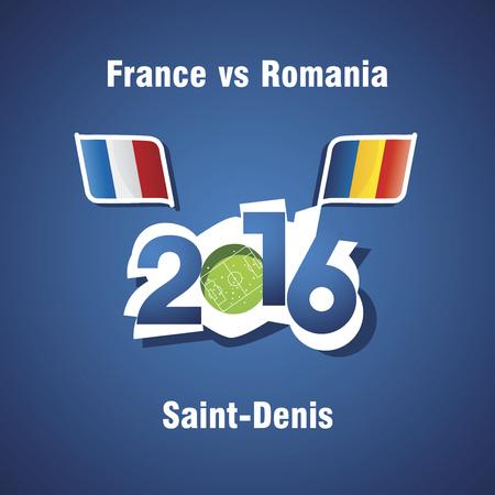Euro 2016 France vs Romania vector blue background