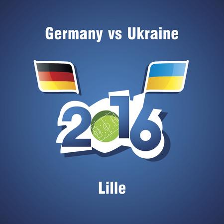 lille: Euro 2016 Germany vs Ukraine vector blue background Illustration