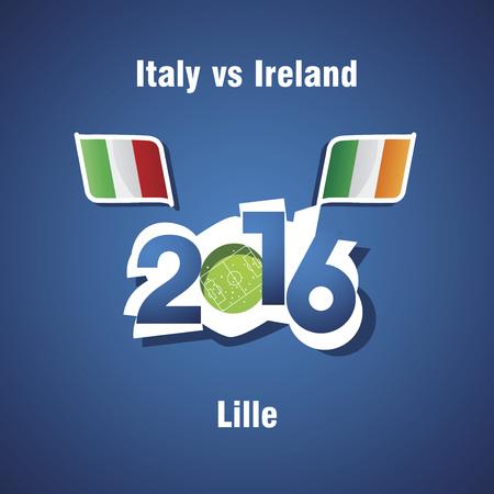 lille: Euro 2016 Italy vs Ireland vector blue background