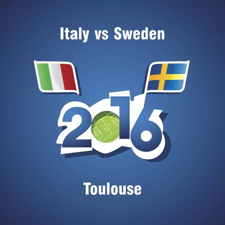 toulouse: Euro 2016 Italy vs Sweden vector blue background