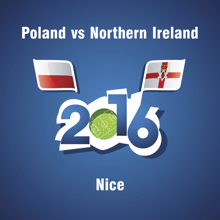 northern ireland: Euro 2016 Poland vs Northern Ireland vector blue background