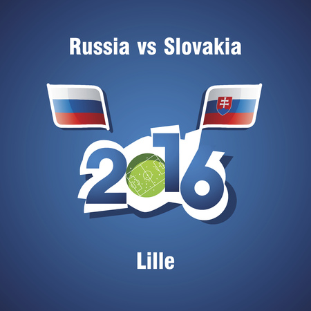 lille: Euro 2016 Russia vs Slovakia vector blue background