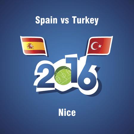 nice france: Euro 2016 Spain vs Turkey vector blue background