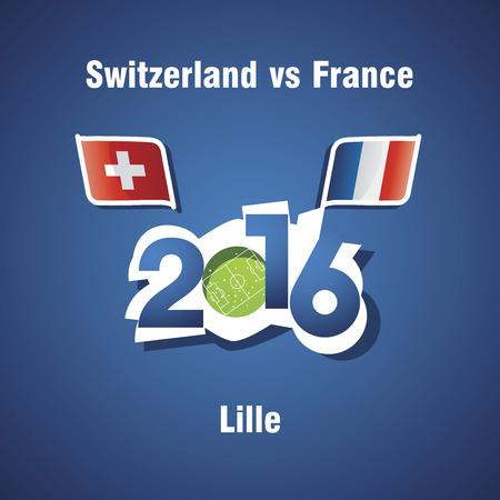 lille: Euro 2016 Switzerland vs France vector blue background