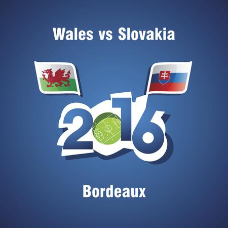 wales: Euro 2016 Wales vs Slovakia vector blue background