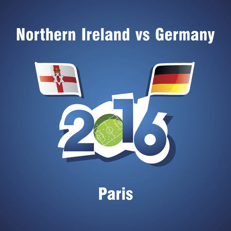 northern ireland: Euro 2016 Northern Ireland vs Germany vector blue background