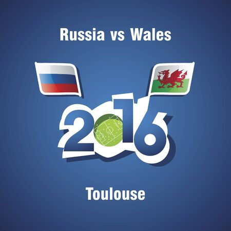 toulouse: Euro 2016 Russia vs Wales vector blue background