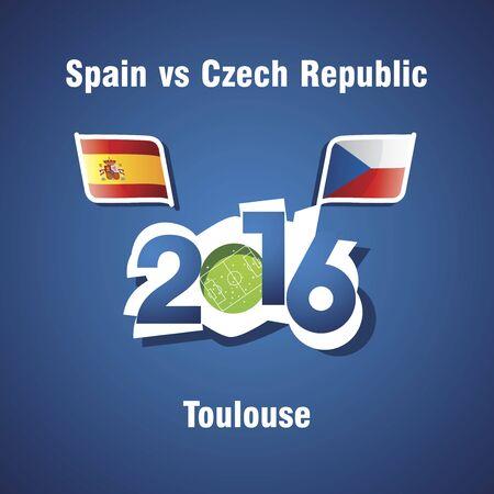 the czech republic: Euro 2016 Spain vs Czech Republic vector blue background Illustration