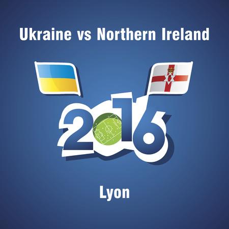 northern ireland: Euro 2016 Ukraine vs Northern Ireland vector blue background