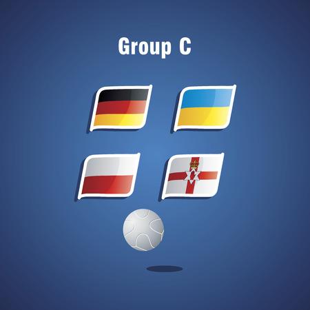 Euro 2016 Group C vector blue background Illustration