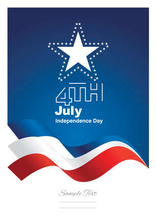 celebrate: 4th July stars blue red ribbon background vector