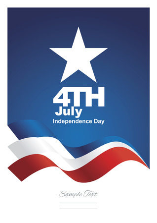 4th July ribbon blue background vector