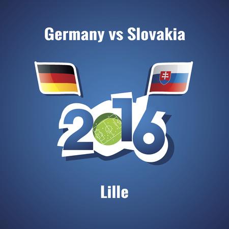 lille: Euro 2016 Germany vs Slovakia blue background