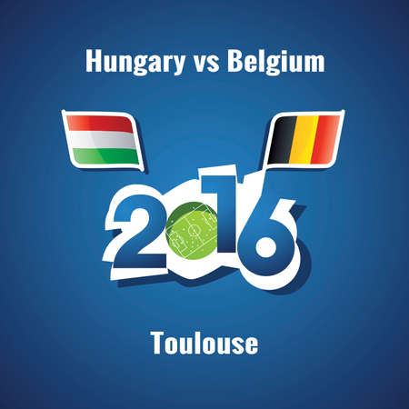 toulouse: Euro 2016 Hungary vs Belgium blue background Illustration