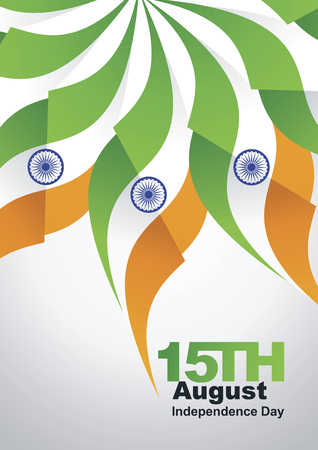 august: 15th August Independence Day India flag gray background