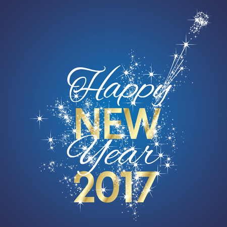 in years: 2017 Happy New Year firework blue background