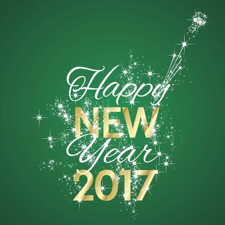 2017 Happy New Year firework green background