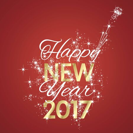 greetings card: 2017 Happy New Year firework red background