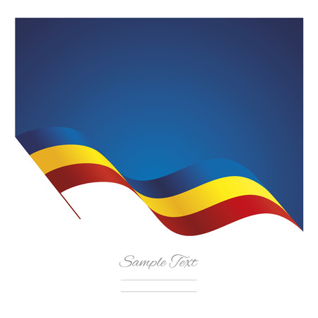 Romania abstract wave flag ribbon background