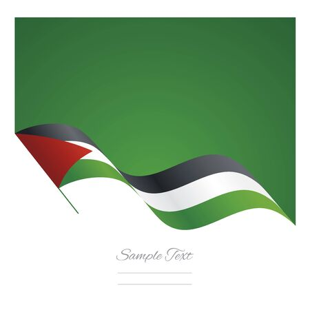 Palestine abstract wave flag ribbon background