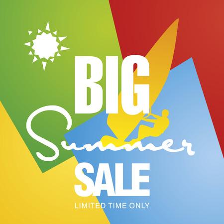 windsurf: Big summer sale windsurf board sun card color background vector
