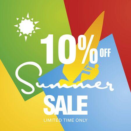 windsurf: Summer sale 10 percent off discount offer windsurf board sun card color background vector