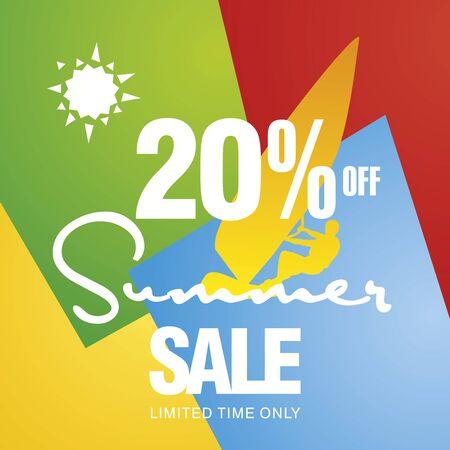 windsurf: Summer sale 20 percent off discount offer windsurf board sun card color background vector Illustration