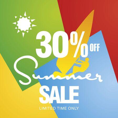 windsurf: Summer sale 30 percent off discount offer windsurf board sun card color background vector Illustration