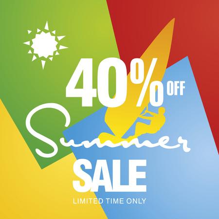 windsurf: Summer sale 40 percent off discount offer windsurf board sun card color background vector