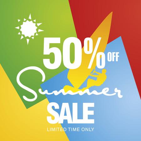 windsurf: Summer sale 50 percent off discount offer windsurf board sun card color background vector