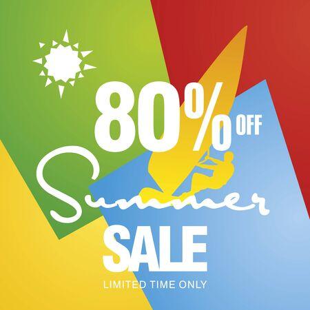 windsurf: Summer sale 80 percent off discount offer windsurf board sun card color background vector Illustration
