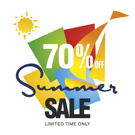 sale sticker: Summer sale 70 percent off discount offer sailboat color background vector