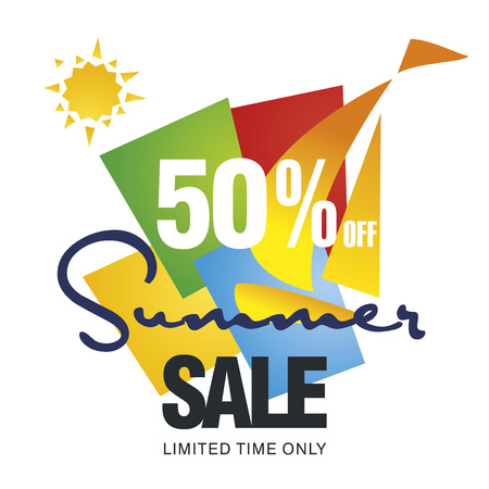 trade off: Summer sale 50 percent off discount offer sailboat color background vector Illustration