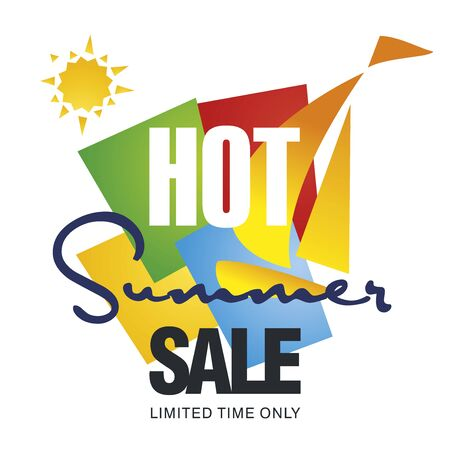 hot summer: Hot summer sale discount sailboat color background vector