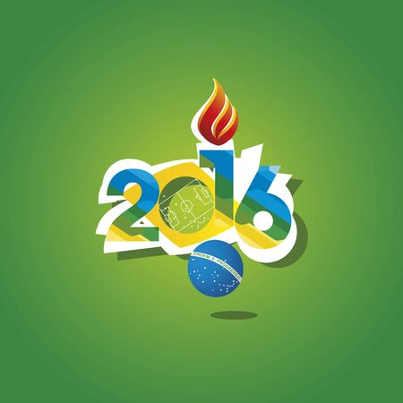 open flame: 2016 Brazil sport games open flame background vector