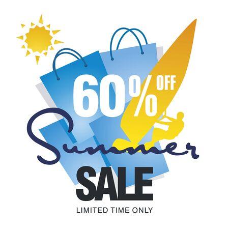 windsurf: Summer big sale bag 60 percent off discount offer windsurf board sun card blue background vector