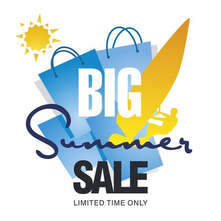 windsurf: Big summer sale bag windsurf board sun card blue background vector Illustration