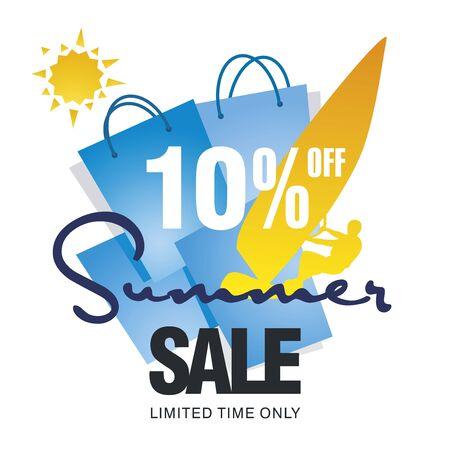 windsurf: Summer big sale bag 10 percent off discount offer windsurf board sun card blue background vector